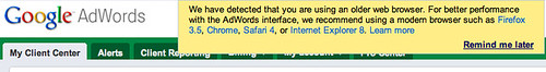 Google AdWords in Safari 5