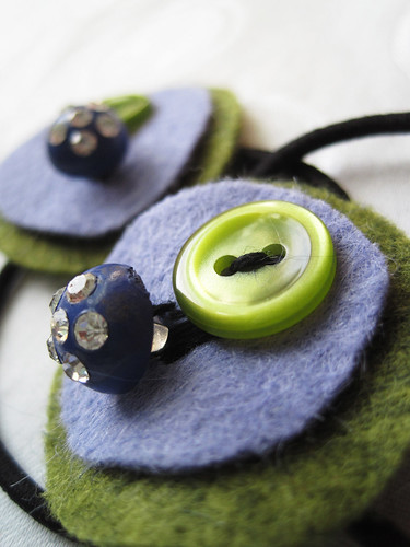 Periwinkle and Olive Ponytail HOlder Set