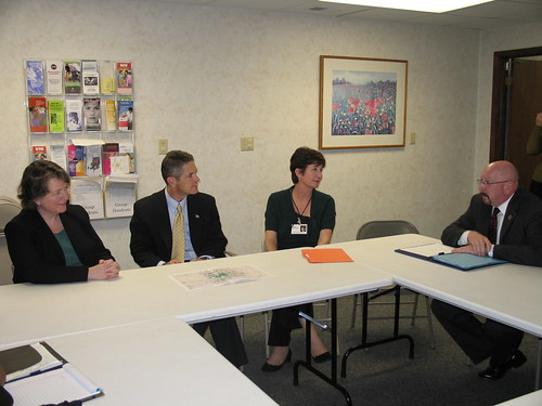 From left: Agriculture Deputy Secretary Kathleen Merrigan, Congressman Mark Schauer, Center for Family Health Executive Director Molly Kaser and State Director for Michigan Rural Development James Turner discuss the new health center.