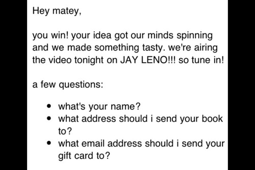 The email from last night showing that I won Rainn Wilson's contest!! Woot Woot!!