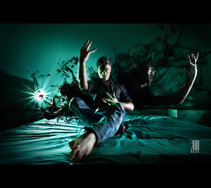 The Illusionist - L'illusionista (il COE) Tags: camera light shadow portrait selfportrait verde green halloween photoshop canon lights shadows post mark ghost tommaso ombra dramatic manipulation o
