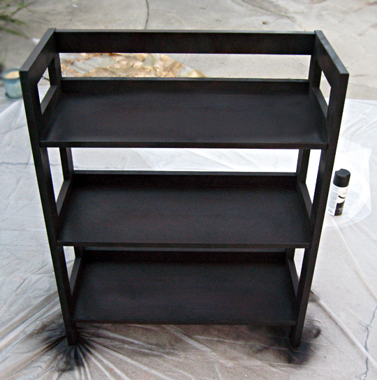 spray painting wood shelves black