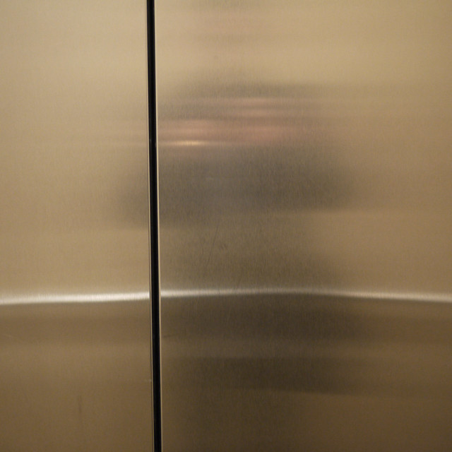 looking at my elevator door #walkingtoworktoday