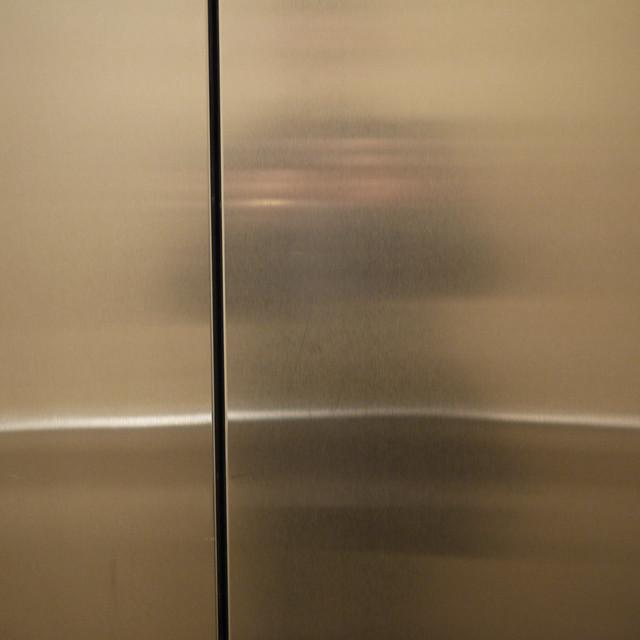 looking at my elevator door #walkingtoworktoday