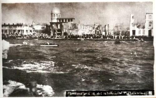 Yanan İzmir, kaçan kurbanlar. Kurtarma tekneleri. 14 Eylül 1922. 06:00 PM