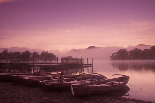 Misty boats at dawn