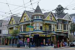 victorians in sf 5 (the aliens) Tags: sanfrancisco california ca old house color colour building yellow architecture victorian masonic haightashbury checkscashed coffeetothepeople tamron1750 nikond90 1125secatf80