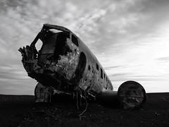 The DC3 ghost. (NoukLy) Tags: iceland plane islande crash blackandwhite noiretblanc avion dc3 roadtrip backlight