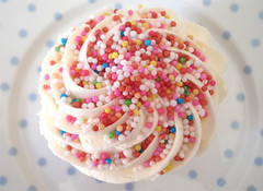Sprinkled Cupcake (such pretty things) Tags: pink blue red cupcakes dot polkadots spots cupcake tuesday target icing dots frosting 1000s pokkadots