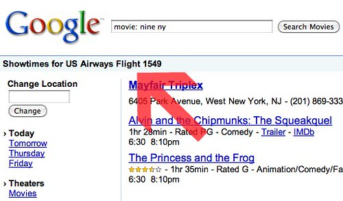 Google Movies Shows Flight 1549