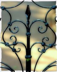 ironwork (lovestruck.) Tags: black work fence geotagged polaroid gate iron heart decorative wroughtiron software nik ironwork shape scroll sigma105mm challengeyouwinner pentaxk10d colourefexpro geo:lat=51385502 geo:lon=2356385