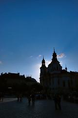 Prague City Center (Sebastian Anthony) Tags: old city blue people tourism silhouette prague cobbles underexposed