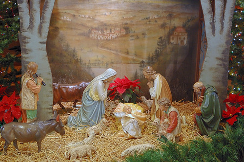 Saint Peter Roman Catholic Church, in Saint Charles, Missouri, USA - Christmas creche