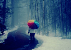 The Path Less Traveled ({peace&love}) Tags: road blue trees snow girl rain fog umbrella walking mom rainbow women path pinkparis1233