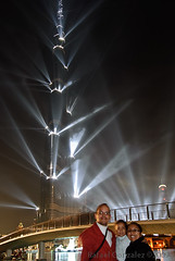 Daniela, Perla and Rafael at the Burj Khalifa opening