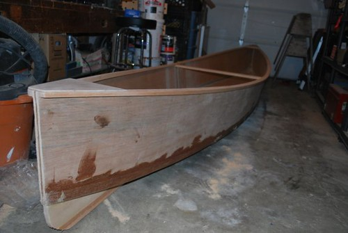 The Quick Canoe in bare wood - after 4.5 hours build time.