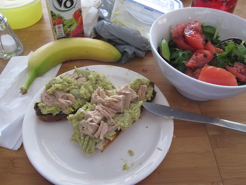Broad bean and tuna baguette, salad, V8, banana from the bistro