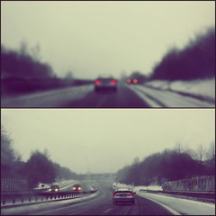 highway in germany (donchris!) Tags: schnee winter snow canon germany deutschland eos mercedes highway focus diptych dof bokeh d hiver nieve autobahn it 66 autopista neve alemania invierno neige autoroute dip inverno 450 allemagne zima germania nieg dippy autostrada diptychon a66 niemcy a 450d