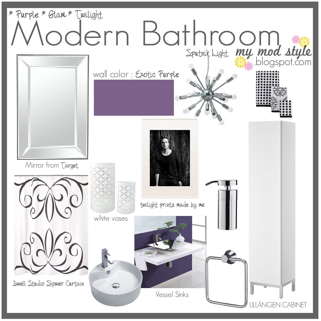 Design Board - Purple Modern Bathroom
