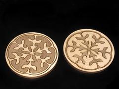 Inlay Coasters 1 (Shannon Henry) Tags: wood project handmade walnut symmetry laser botany coaster geeky coasters basswood radial inlay lasercut veneer laserengraved polymathdesignlab