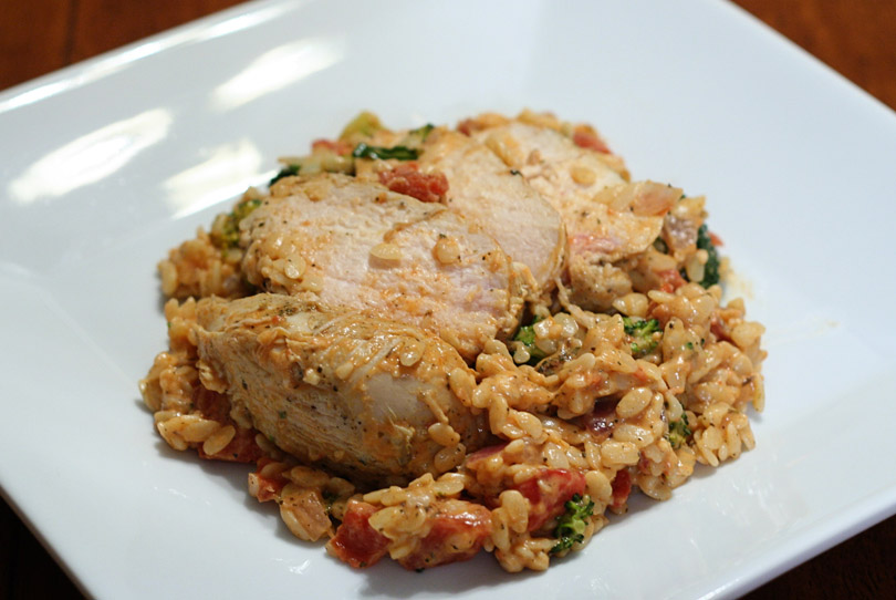 Herb Rubbed Grilled Chicken with Creamy Orzo