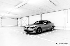 BMW 530d (marknauta.nl) Tags: blackandwhite bw white holland netherlands grey rotterdam nikon photoshoot parkinggarage mark garage parking bmw digest 5series 530 d300 e60 nauta 530i breeman 530d 5serie marknautanl marknauta