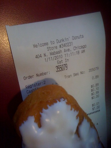 So close! The receipt says 01/11/10 11:11:18