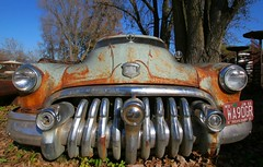 Abandoned Buick (stormdog42) Tags: old abandoned car wisconsin vintage buick rust headlights front licenseplate bumper chrome grille 1950 buickeight forevertron