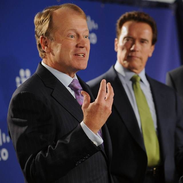 John T. Chambers, CEO of Cisco and Governor Arnold Schwarzenegger Speak During the Press Conference by Cisco Pics