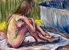 Bathing - Postcard (Ben Levitt) Tags: nude nudes acrylic ben postcard postcards bathing lifedrawing levitt benlevitt