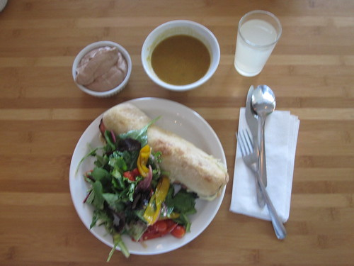Vegetable and chick pea soup, ham croque-monsieur, salad, chocolate mousse, lemonade