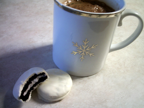 White chocolate covered Oreos with hot chocolate... YUM!