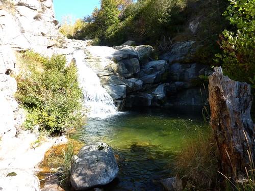 Sentier du ruisseau de San Petru : cascade et vasque sur le ruisseau