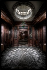 Grand entrance (Romany WG) Tags: wood urban abandoned stairs hospital actors shadows floor stage orphanage chandelier staircase childrens marble ornate pillars explorers exploration urbex inlaid panelling