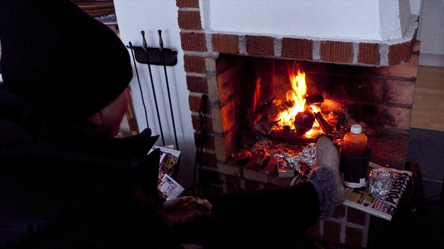 Last sandwiches in front of the fire