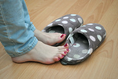 No More Slippers (Artistic Feet) Tags: pictures pink colour cute feet girl female asian foot three model pretty purple bright artistic bare small curves smooth polish arches pale size jeans nails photographs barefoot heels soles petite ankles feminin ubersexy