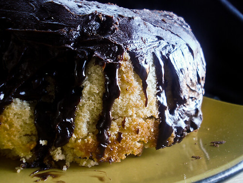 Yellow Cake with Chocolate Ganache