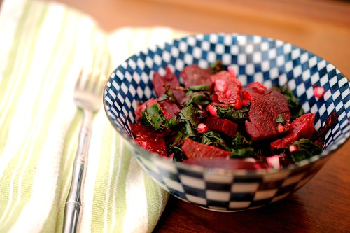 beet salad with oranges and beet greens