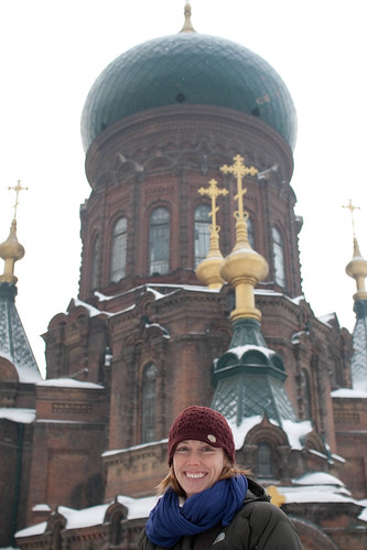 Amy in front of Saint Sofia church