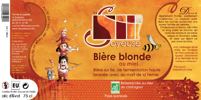 Etiquette Bière La Soyeuse Blonde au Miel