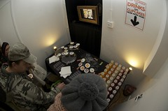 Tucking in (JamFactory) Tags: uk party night bristol toy gallery vinyl exhibition fisheye plastic droplet launch showcase s2 series2 jamfactory fiftyfifty crazylabel