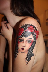 tattoo1 (lilaclion) Tags: woman theater style t1i tattoo tattoos sg sarakemple ryanmason roses room roll vintage theda bara classic lipstick scapegoat rock red portrait portland photoshop photos photography oregon northwest masks makeup lilaclion hair girls gothic girl flowers flower fashion eyes eyeliner darkhair crimson closeup canon brunette art alternative partial half sleeve traditional historic sailor gypsy spanish egyptian curly