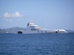 Motor Yacht A anchores with the charter catamaran Mustang Sally in the BVI (mustangsallyv) Tags: mustangsally andreymelnichenko motoryachta chartercatamaranmustangsally