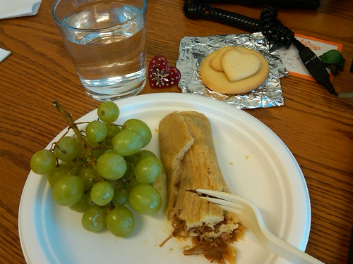 Lunch: pork tamale, grapes, homemade sugar cookies, H2O