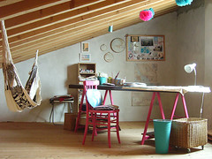 Atelier Pompadour (It's Great To Be Home) Tags: wood pink white fun turquoise hammock homeoffice eclectic beams vaultedceiling