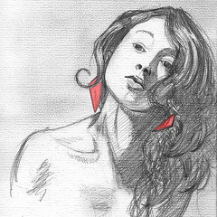Me! (AniSuperNova83) Tags: red portrait woman art girl pencil sketch mujer rojo arte drawing retrato nia supernova dibujo obra boceto lpiz badulake supernova83 badudigital anisupernova