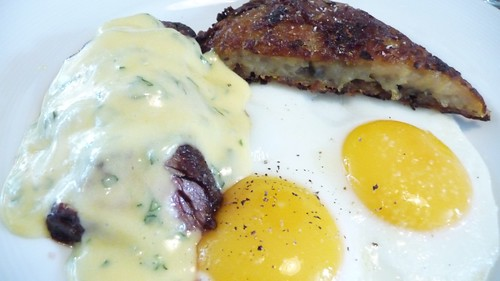 Grilled Hangar Steak + Rosti Potatoes + Eggs at The Vanderbilt