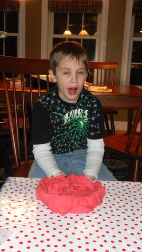 Max with his play dough tribute to Apollo Ohno