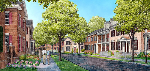 concept rendering of new neighborhood in Davidson (by: Dover Kohl & Partners)