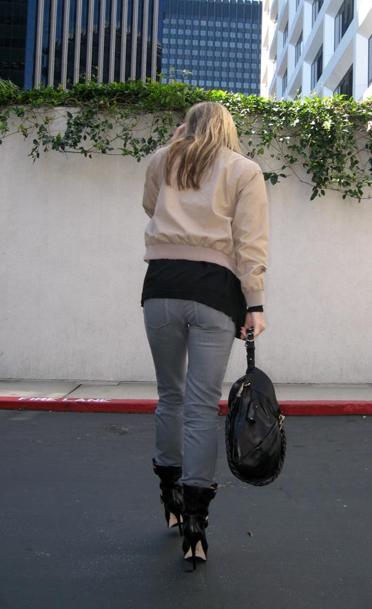 Triumph t-shirt gray jeans stiletto biker boots - underwear lines